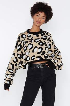 Nasty Gal Super Crop Batwing Jumper Leopard