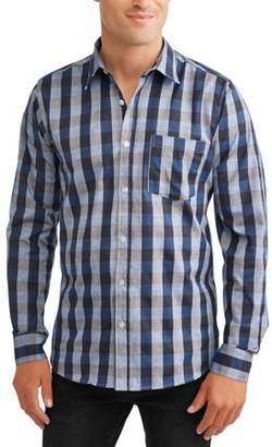 SWISS CROSS Big Men's Long Sleeve Yarn Dyed Plaid Woven