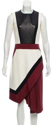 J. Mendel Leather-Accented Midi Dress