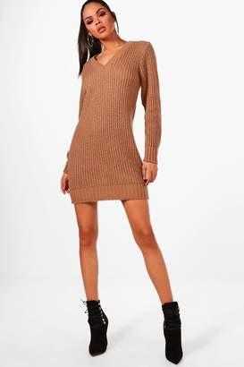 boohoo Maria V Neck Soft Knit Jumper Dress
