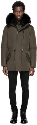 Brodny Mid Length Heavy Winter Down Jacket In Army $990 thestylecure.com