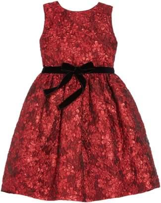Oscar de la Renta Kids Flower Metallic Jacquard Pleat Skirt Dress