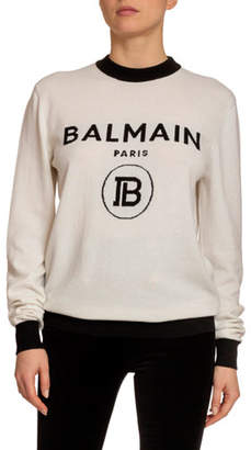Balmain Wool-Cashmere Logo-Knit Sweater