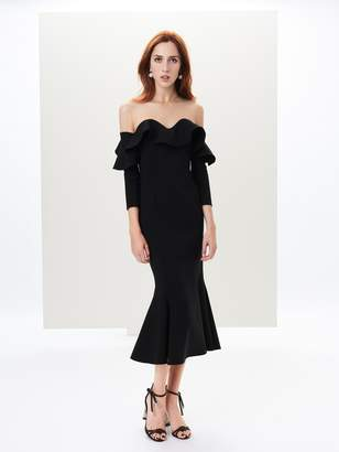 Oscar de la Renta Ruffled Stretch-Wool Illusion-Neck Dress