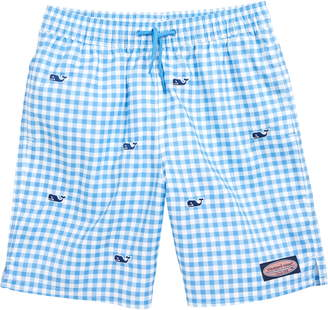 Vineyard Vines Gingham Whale Embroidered Chappy Swim Trunks