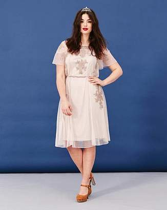 Simply Be Short Sleeve Embroidered Mesh Dress
