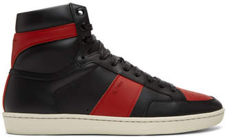 Saint Laurent Black and Red Court Classic SL/10 High-Top Sneakers