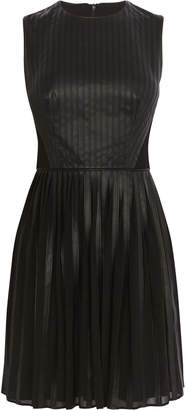 Karen Millen Faux Leather Pleated Dress