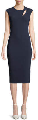 Theia Cap-Sleeve Crepe Cocktail Sheath Dress w/ Asymmetric Keyhole