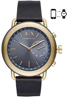 Armani Exchange Connected Hybrid Leather Strap Smartwatch, 47mm