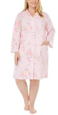 Miss Elaine Plus Size Floral-Print Quilted Snap Robe