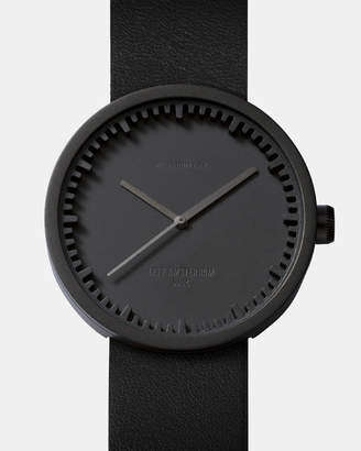 Tube Watch D38 Black with Black Leather Strap