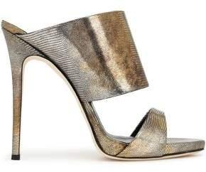 Giuseppe Zanotti Metallic Lizard-Effect Leather Mules