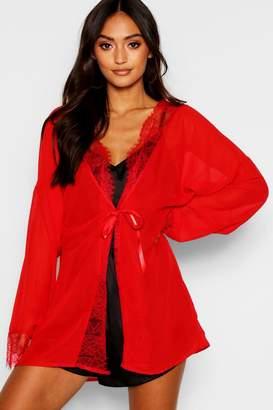 boohoo Petite Lace Trim Chiffon Robe