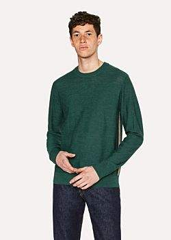 Paul Smith Men's Green Wool Sweater With Side Stripes