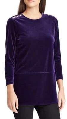 Lauren Ralph Lauren Petite Three-Quarter Sleeve Velvet Top