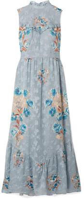Anna Sui Fil Coupé Silk-blend Midi Dress - Light blue