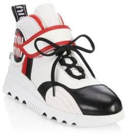 Miu Miu Leather High-Top Chunky Sneakers