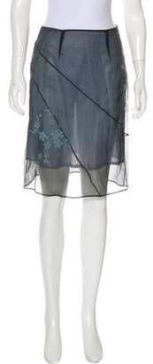 Alberta Ferretti Floral Knee-Length Skirt Grey Floral Knee-Length Skirt