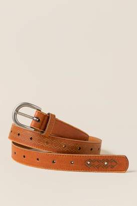 francesca's Nala Etched Diamond Belt in Tan - Tan