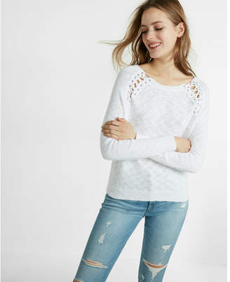 Express lace-up shoulder pullover sweater $59.90 thestylecure.com
