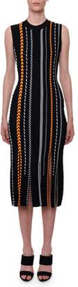 Versace Sleeveless Braided-Stripe Body-Con Midi Dress