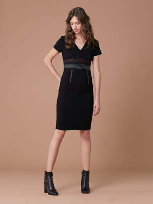 Diane von Furstenberg Short Sleeve V-Neck Tailored Dress