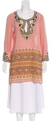 Calypso Silk Beaded Long Sleeve Tunic