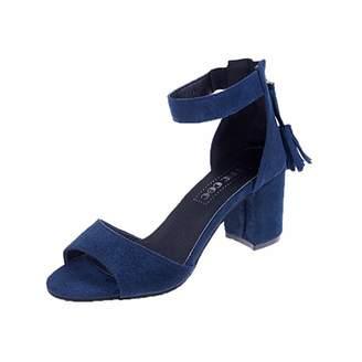 Banstore Women Low Mid Heel Block Peep Toe Ladies Ankle Party Buckle Strap Sandals Shoes