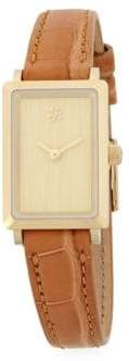 Rectangle Leather Strap Watch