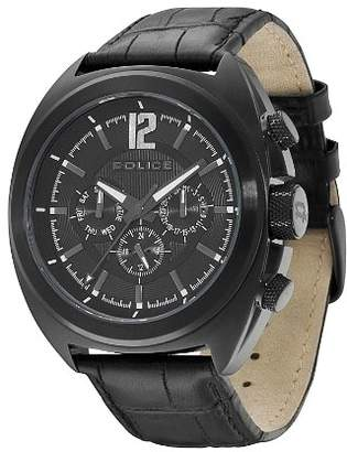 Police Gambler Men's Quartz Watch with Black Dial Analogue Display and Black Leather Strap PL.13403JSB/02