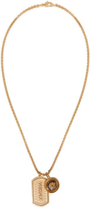 Versace Gold Dog Tag Necklace $825 thestylecure.com