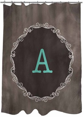Thumbprintz Chalkboard Scroll Monogram Shower Curtain, Turquoise