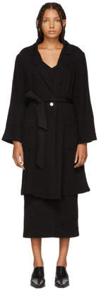 Raquel Allegra Black Grosgrain Belted Coat