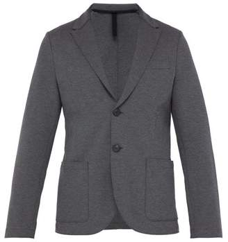 Harris Wharf London Single Breasted Cotton Blend Pique Blazer - Mens - Dark Grey