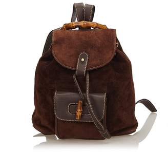 e3dff97ecb5b at Orchard Mile · Gucci Vintage Bamboo Suede Drawstring Backpack