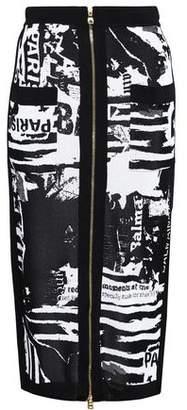 Balmain Metallic Intarsia-Knit Midi Pencil Skirt