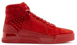 Christian Louboutin - Loubikick Spike High Top Suede Trainers - Mens - Red