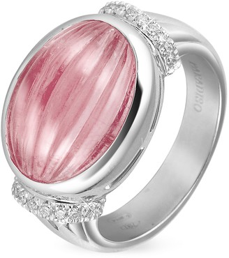 Tagliamonte Roma Imperiale Carved Pink Rubellith and Diamond 18K Gold Ring