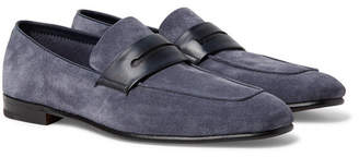 Ermenegildo Zegna Asola Leather-Trimmed Suede Penny Loafers - Men - Blue