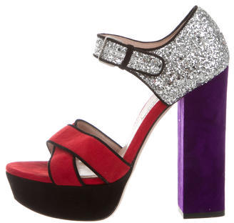 Miu MiuMiu Miu Glitter Platform Sandals