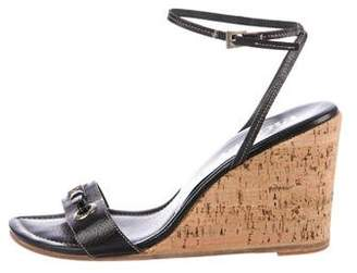 Prada Leather Ankle Strap Wedges