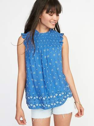 Old Navy Sleeveless Smocked-Yoke Swing Top for Women