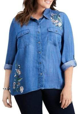Style&Co. Style & Co. Plus Embroidered Denim Button-Down Shirt