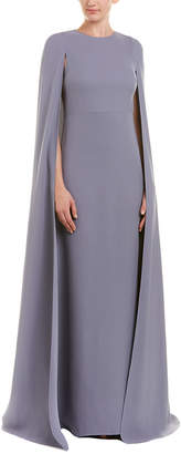 Valentino Cape-Sleeve Silk Gown