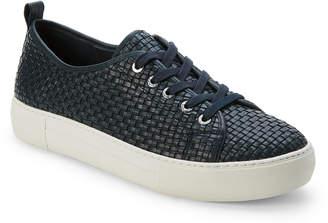 J/Slides Navy Artsy Woven Leather Platform Sneakers