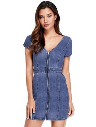 Factory Guess Women's Galilea Denim Zip Mini Dress