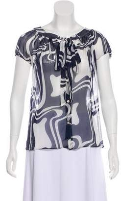 Milly Abstract Printed Silk Blouse