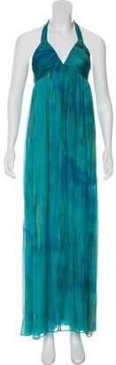 Alice + Olivia Silk Halter Dress Blue Silk Halter Dress