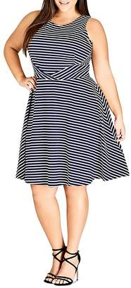 City Chic Plus Nautical Striped Fit-and-Flare Dress